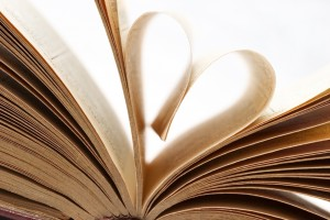 Pages of a book folded in to a heart shape